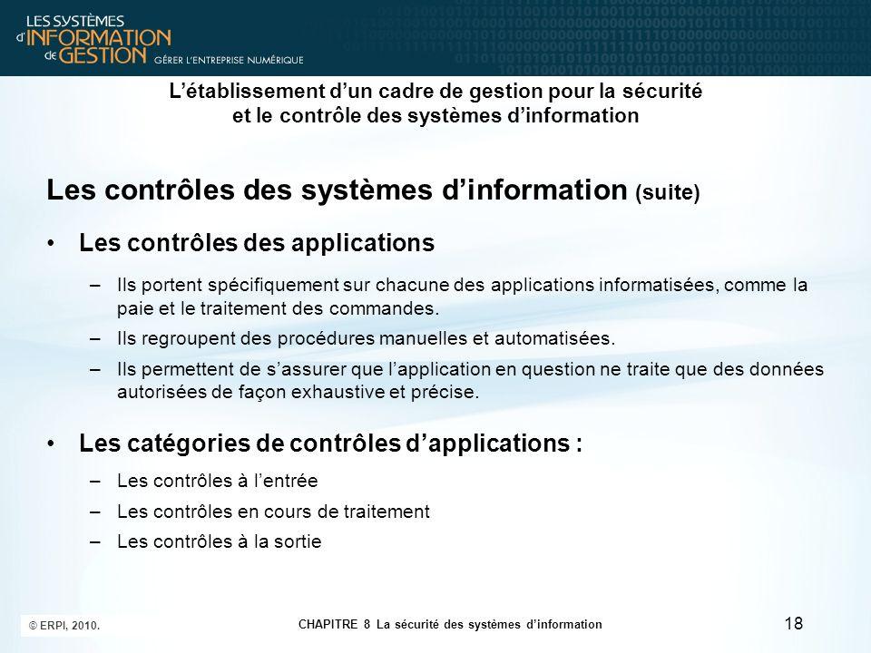 CHAPITRE 8 La sécurité des systèmes d'information © ERPI, 2010. 18 Les contrôles des systèmes d'information (suite) Les contrôles des applications –Il