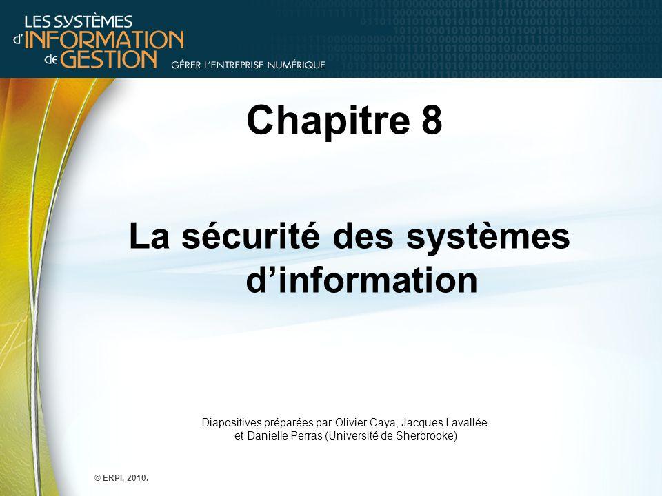 Chapitre 8 La sécurité des systèmes d'information Diapositives préparées par Olivier Caya, Jacques Lavallée et Danielle Perras (Université de Sherbroo