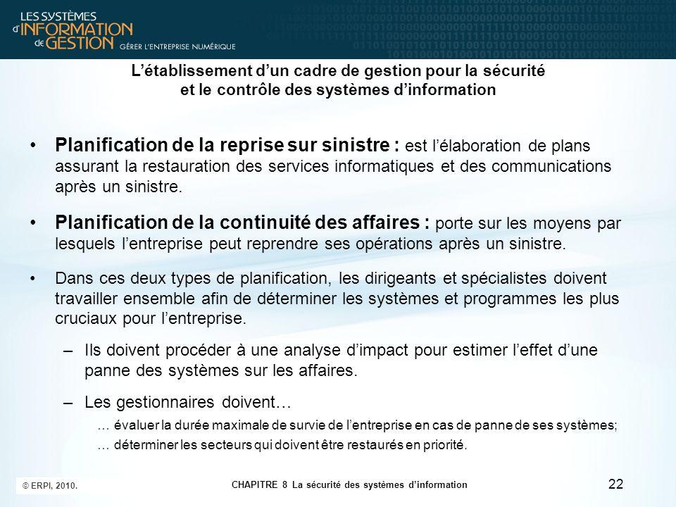 CHAPITRE 8 La sécurité des systèmes d'information © ERPI, 2010. 22 Planification de la reprise sur sinistre : est l'élaboration de plans assurant la r