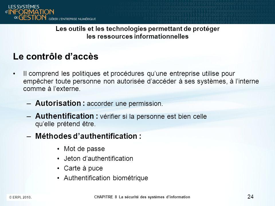 CHAPITRE 8 La sécurité des systèmes d'information © ERPI, 2010. 24 Les outils et les technologies permettant de protéger les ressources informationnel