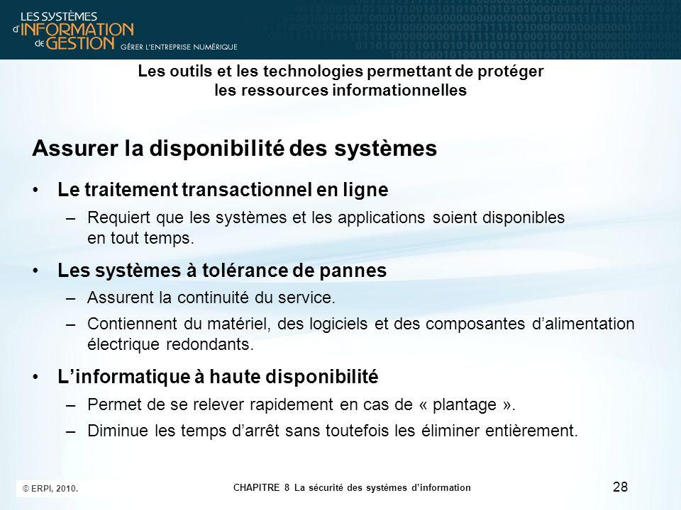 CHAPITRE 8 La sécurité des systèmes d'information © ERPI, 2010. 28 Les outils et les technologies permettant de protéger les ressources informationnel