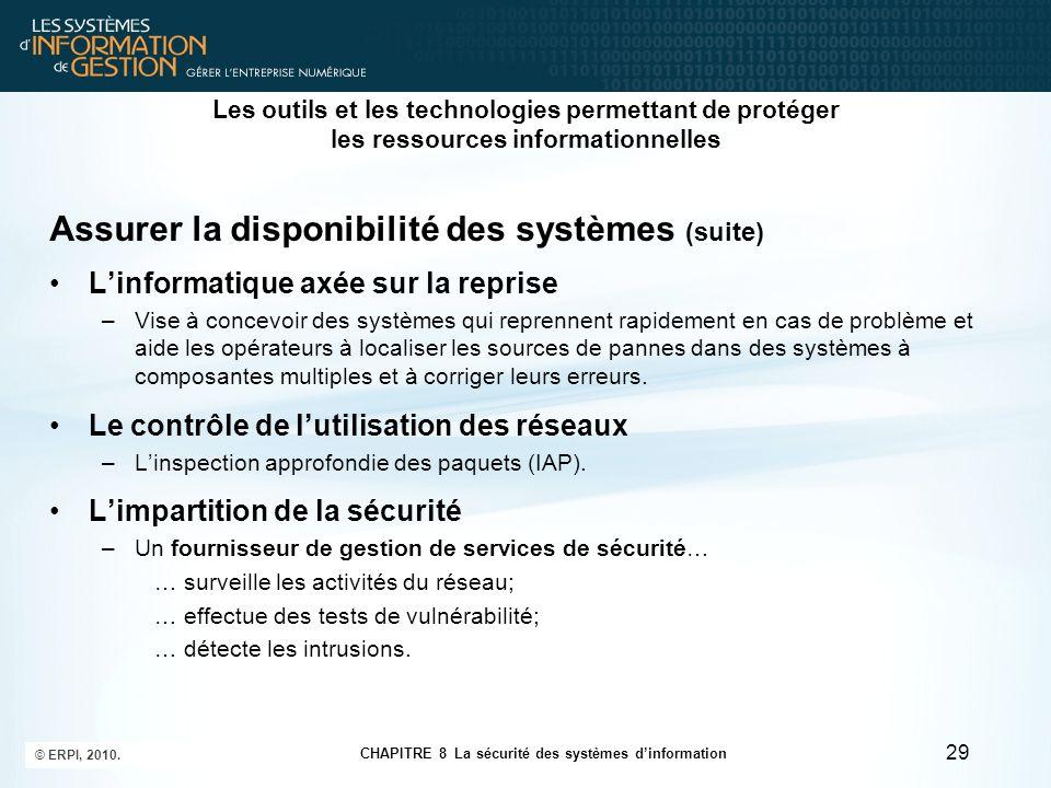 CHAPITRE 8 La sécurité des systèmes d'information © ERPI, 2010. 29 Les outils et les technologies permettant de protéger les ressources informationnel