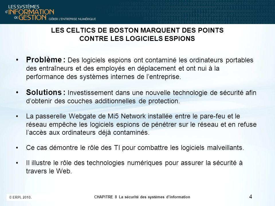CHAPITRE 8 La sécurité des systèmes d'information © ERPI, 2010. 4 LES CELTICS DE BOSTON MARQUENT DES POINTS CONTRE LES LOGICIELS ESPIONS Problème : De
