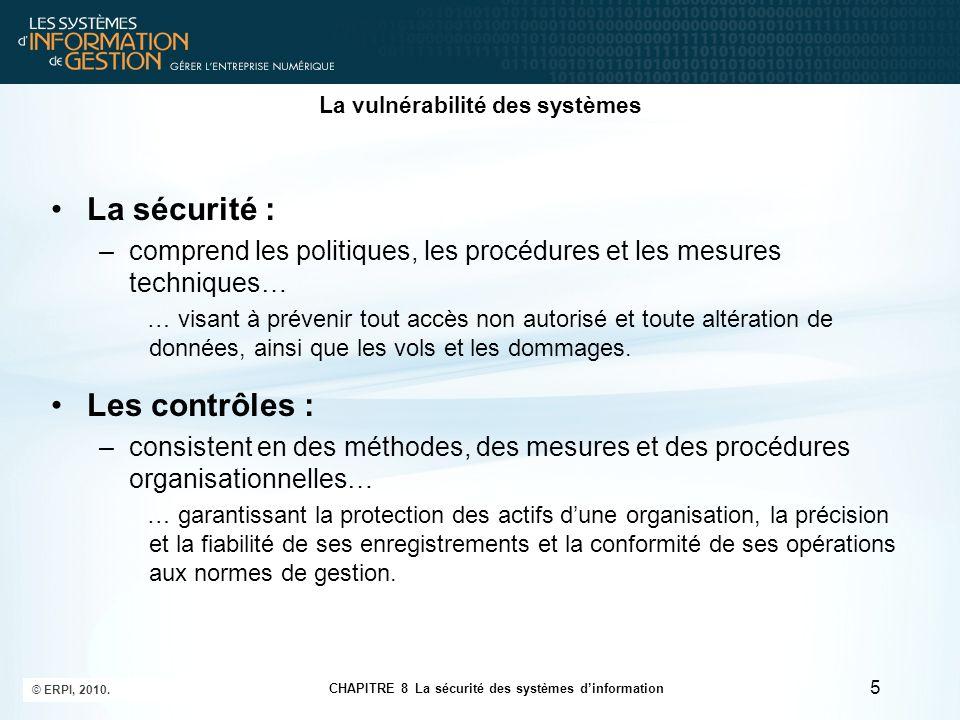 CHAPITRE 8 La sécurité des systèmes d'information © ERPI, 2010. 5 La vulnérabilité des systèmes La sécurité : –comprend les politiques, les procédures