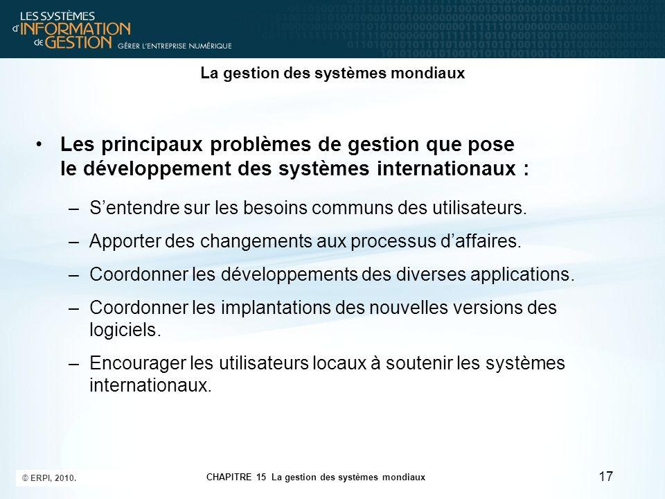 La gestion des systèmes mondiaux Les principaux problèmes de gestion que pose le développement des systèmes internationaux : –S'entendre sur les besoi