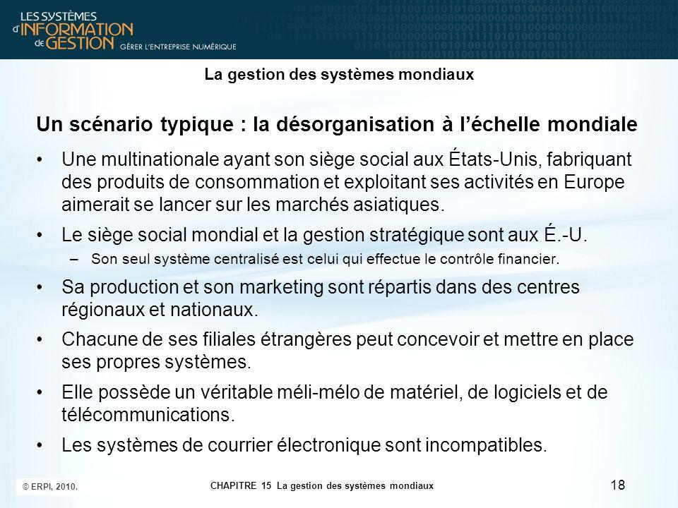La gestion des systèmes mondiaux Un scénario typique : la désorganisation à l'échelle mondiale Une multinationale ayant son siège social aux États-Uni