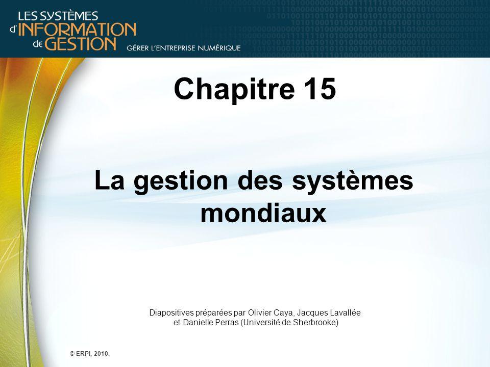 Chapitre 15 La gestion des systèmes mondiaux Diapositives préparées par Olivier Caya, Jacques Lavallée et Danielle Perras (Université de Sherbrooke) ©