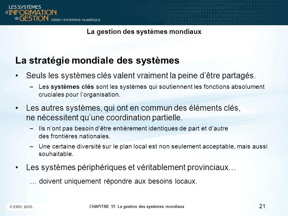 La gestion des systèmes mondiaux La stratégie mondiale des systèmes Seuls les systèmes clés valent vraiment la peine d'être partagés. –Les systèmes cl