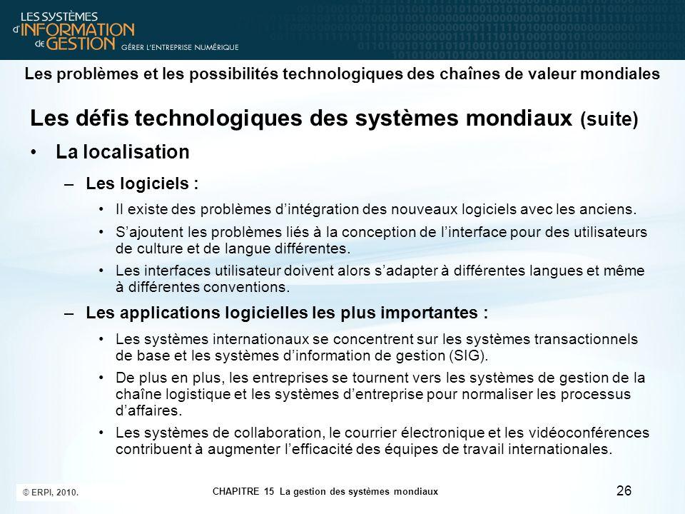 Les problèmes et les possibilités technologiques des chaînes de valeur mondiales Les défis technologiques des systèmes mondiaux (suite) La localisatio