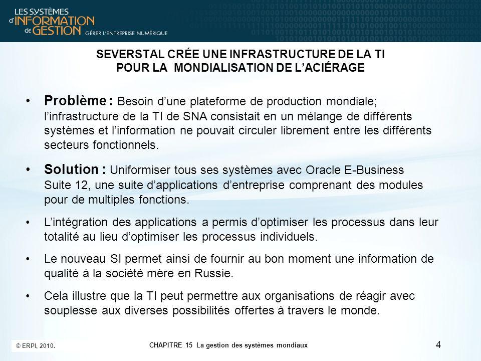 SEVERSTAL CRÉE UNE INFRASTRUCTURE DE LA TI POUR LA MONDIALISATION DE L'ACIÉRAGE Problème : Besoin d'une plateforme de production mondiale; l'infrastru