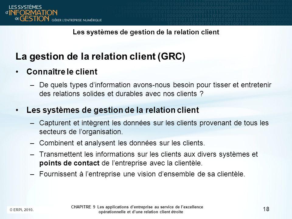 © ERPI, 2010. 18 CHAPITRE 9 Les applications d'entreprise au service de l'excellence opérationnelle et d'une relation client étroite Les systèmes de g
