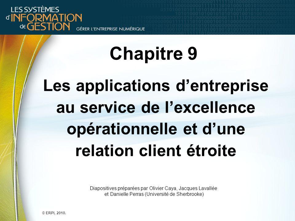 Chapitre 9 Les applications d'entreprise au service de l'excellence opérationnelle et d'une relation client étroite Diapositives préparées par Olivier