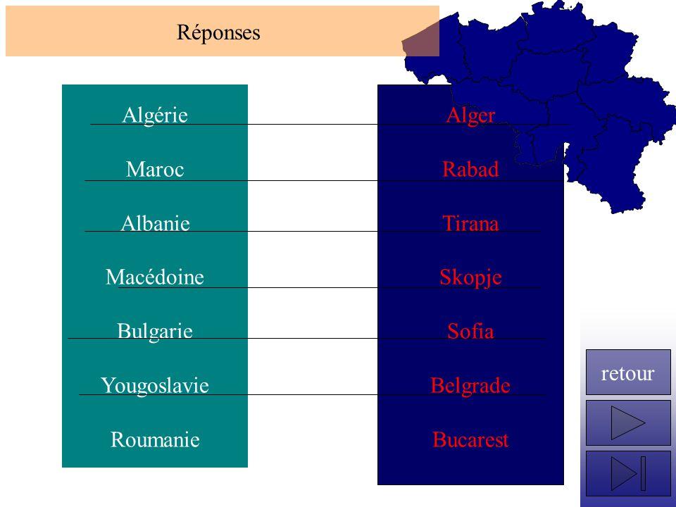 Algérie Maroc Albanie Macédoine Bulgarie Yougoslavie Roumanie Réponses retour Alger Rabad Tirana Skopje Sofia Belgrade Bucarest