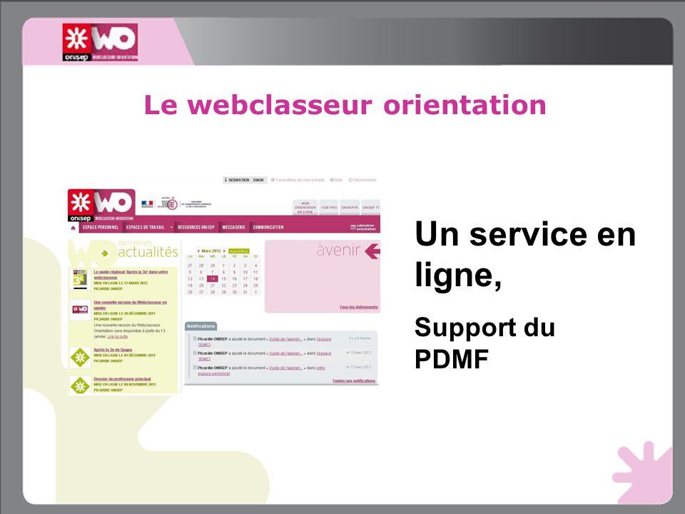 Le webclasseur orientation Un service en ligne, Support du PDMF