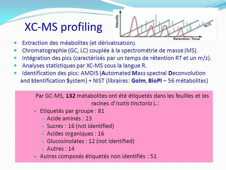 XC-MS profiling Extraction des méabolites (et dérivatisation). Chromatographie (GC, LC) couplée à la spectrométrie de masse (MS). Intégration des pics