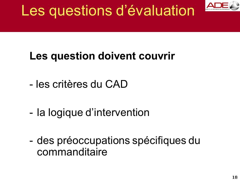 Les questions d'évaluation Les question doivent couvrir - les critères du CAD -la logique d'intervention -des préoccupations spécifiques du commandita