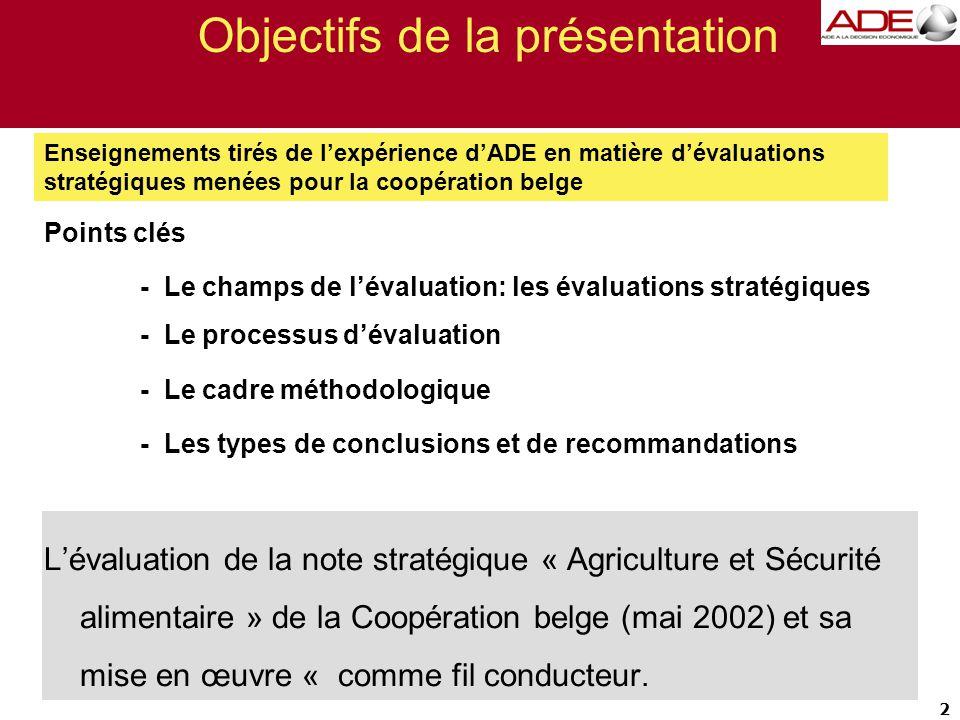 Objectifs de la présentation Points clés - Le champs de l'évaluation: les évaluations stratégiques - Le processus d'évaluation - Le cadre méthodologique - Les types de conclusions et de recommandations L'évaluation de la note stratégique « Agriculture et Sécurité alimentaire » de la Coopération belge (mai 2002) et sa mise en œuvre « comme fil conducteur.