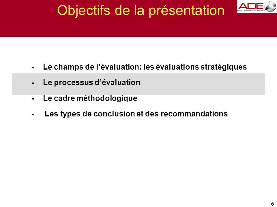 Objectifs de la présentation - Le champs de l'évaluation: les évaluations stratégiques - Le processus d'évaluation - Le cadre méthodologique - Les types de conclusions et de recommandations 27