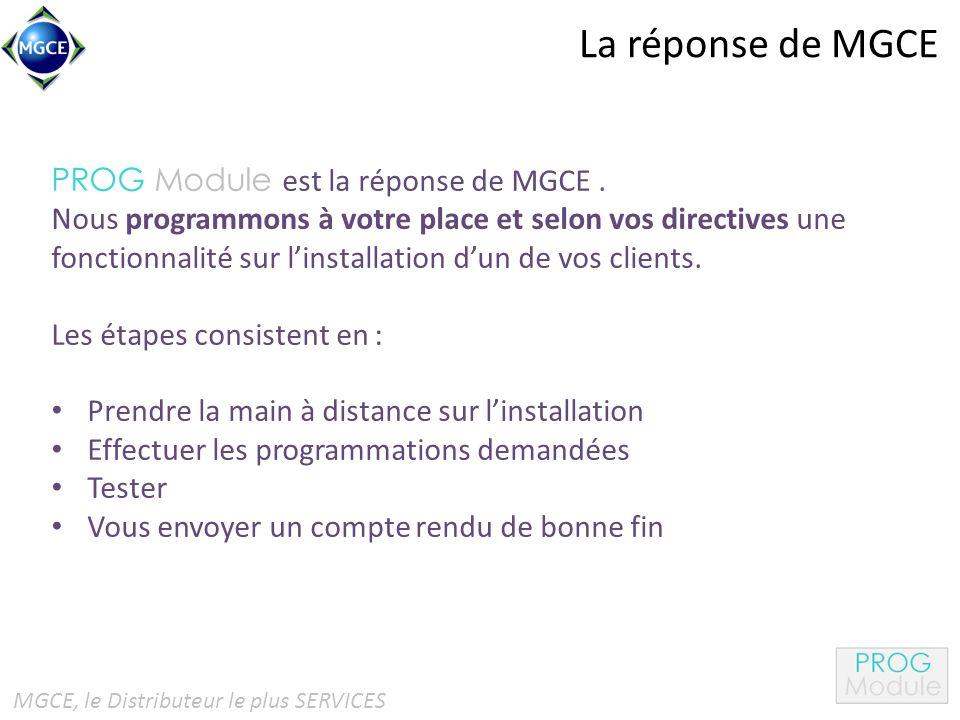 La réponse de MGCE PROG Module est la réponse de MGCE.