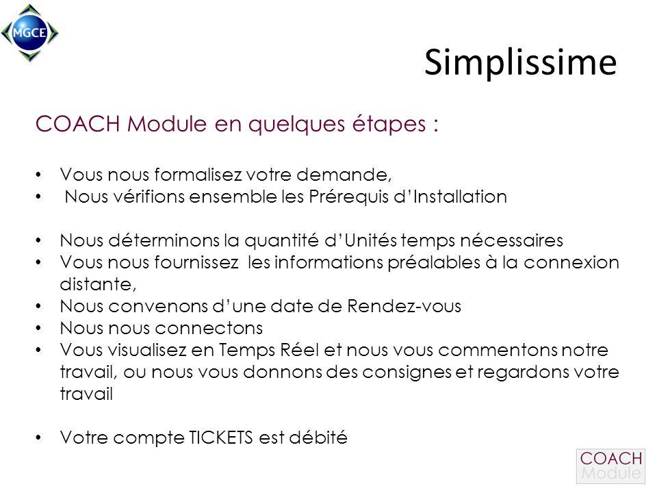 Simplissime COACH Module en quelques étapes : Vous nous formalisez votre demande, Nous vérifions ensemble les Prérequis d'Installation Nous déterminon