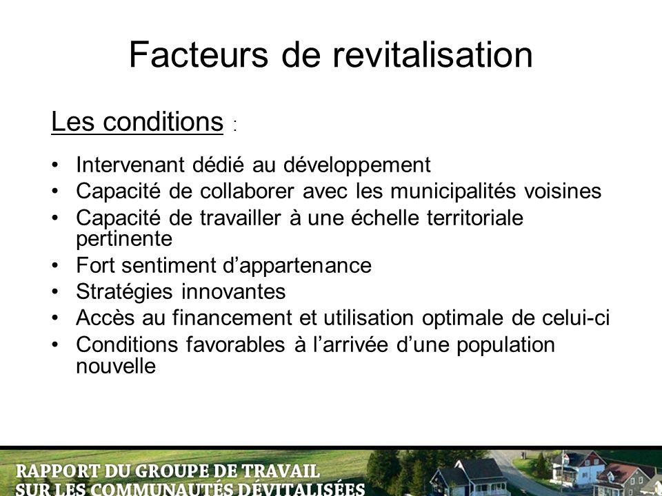 Facteurs de revitalisation Les conditions : Intervenant dédié au développement Capacité de collaborer avec les municipalités voisines Capacité de trav