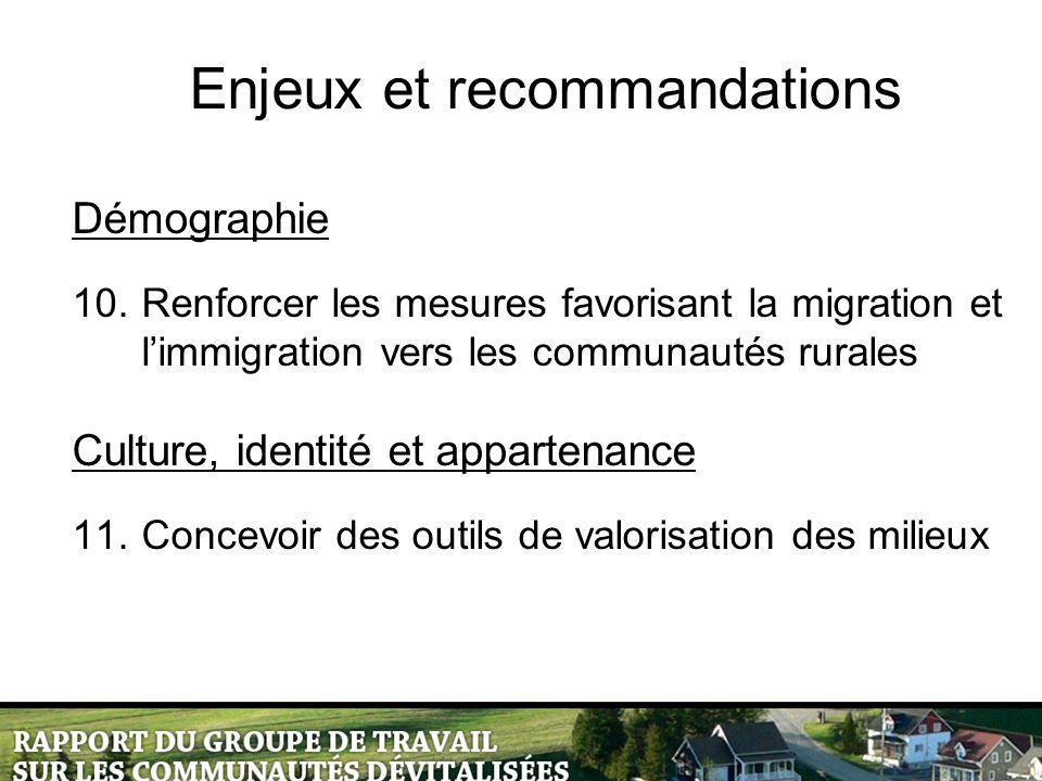 Enjeux et recommandations Démographie 10.Renforcer les mesures favorisant la migration et l'immigration vers les communautés rurales Culture, identité et appartenance 11.Concevoir des outils de valorisation des milieux
