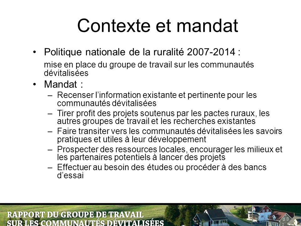 Contexte et mandat Politique nationale de la ruralité 2007-2014 : mise en place du groupe de travail sur les communautés dévitalisées Mandat : –Recens
