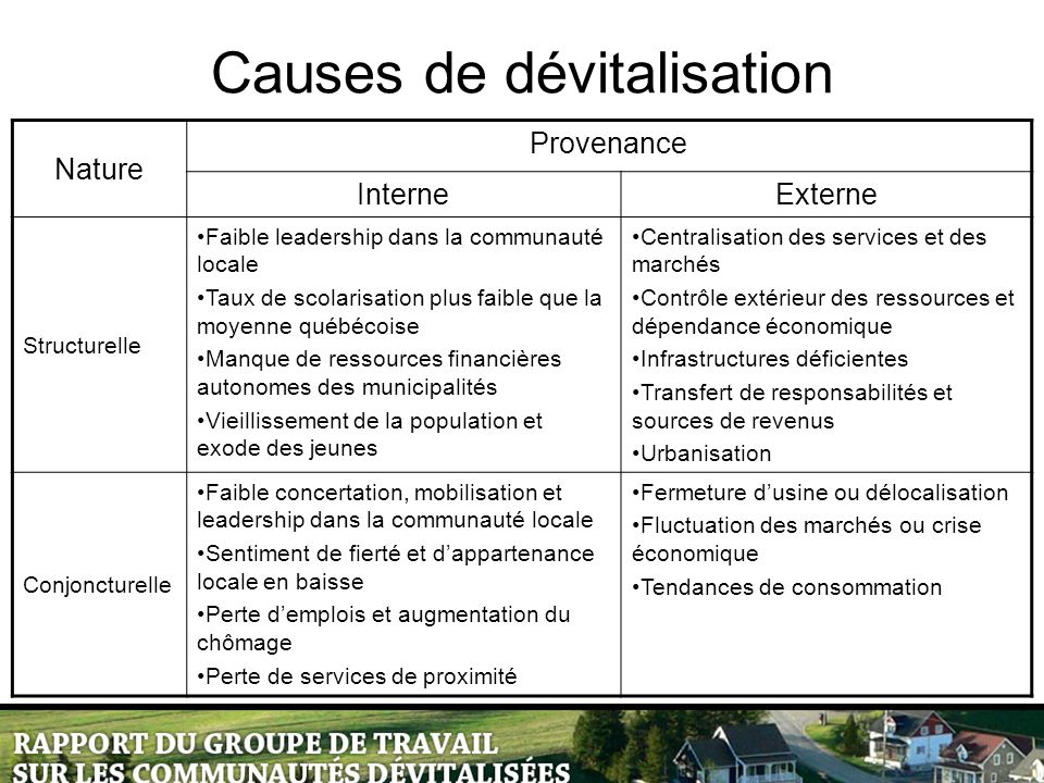Causes de dévitalisation Nature Provenance InterneExterne Structurelle Faible leadership dans la communauté locale Taux de scolarisation plus faible q