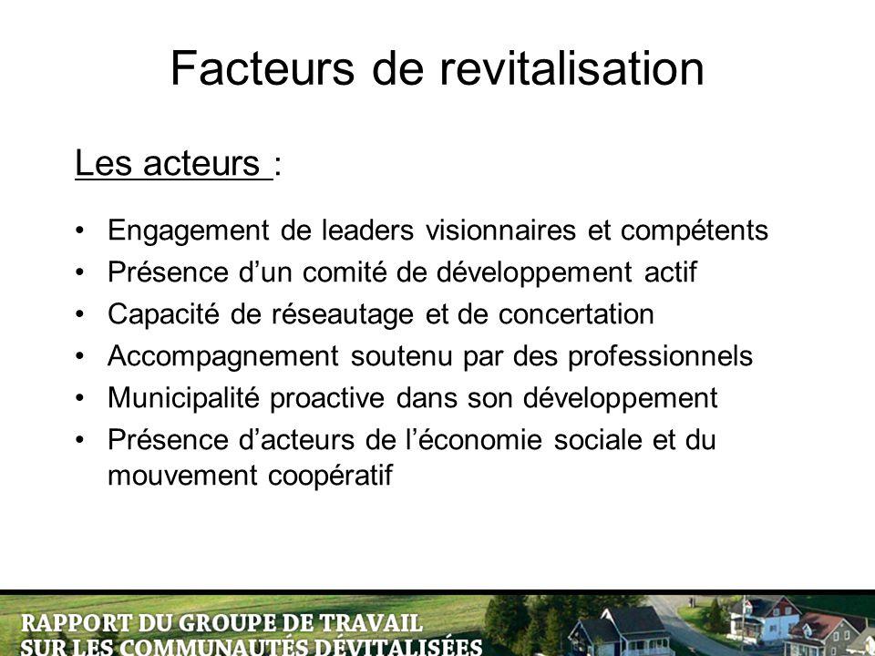 Facteurs de revitalisation Les acteurs : Engagement de leaders visionnaires et compétents Présence d'un comité de développement actif Capacité de rése