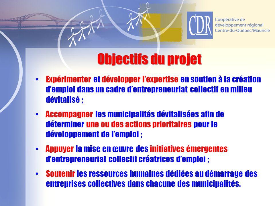 Expérimenter et développer l'expertise en soutien à la création d'emploi dans un cadre d'entrepreneuriat collectif en milieu dévitalisé ; Accompagner