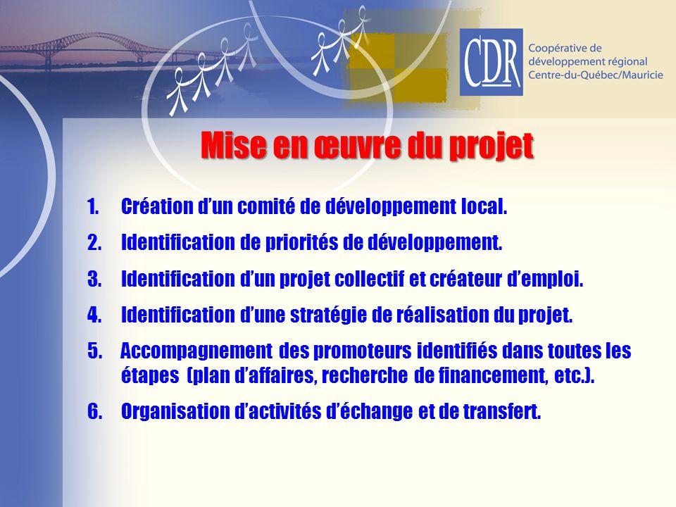 1.Création d'un comité de développement local. 2.Identification de priorités de développement. 3.Identification d'un projet collectif et créateur d'em