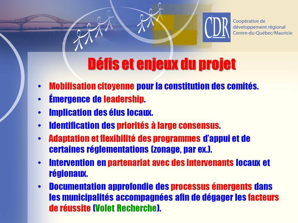 Défis et enjeux du projet Mobilisation citoyenne pour la constitution des comités. Émergence de leadership. Implication des élus locaux. Identificatio