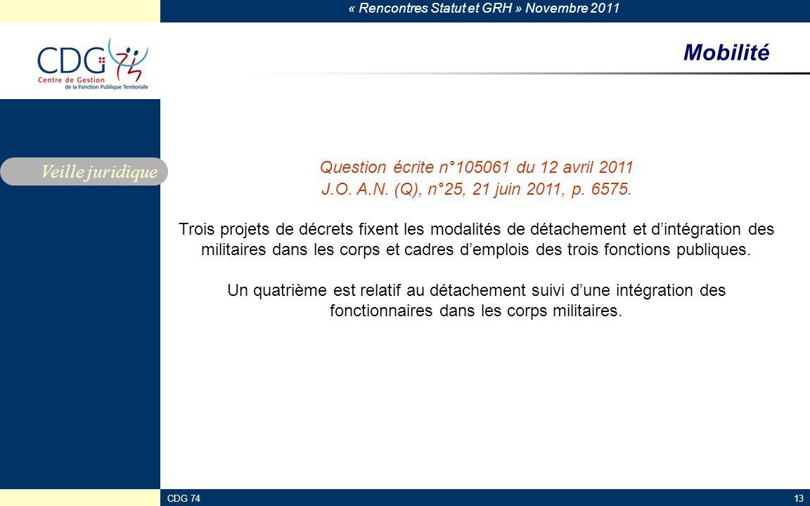 « Rencontres Statut et GRH » Novembre 2011 CDG 7413 Mobilité Veille juridique Question écrite n°105061 du 12 avril 2011 J.O. A.N. (Q), n°25, 21 juin 2