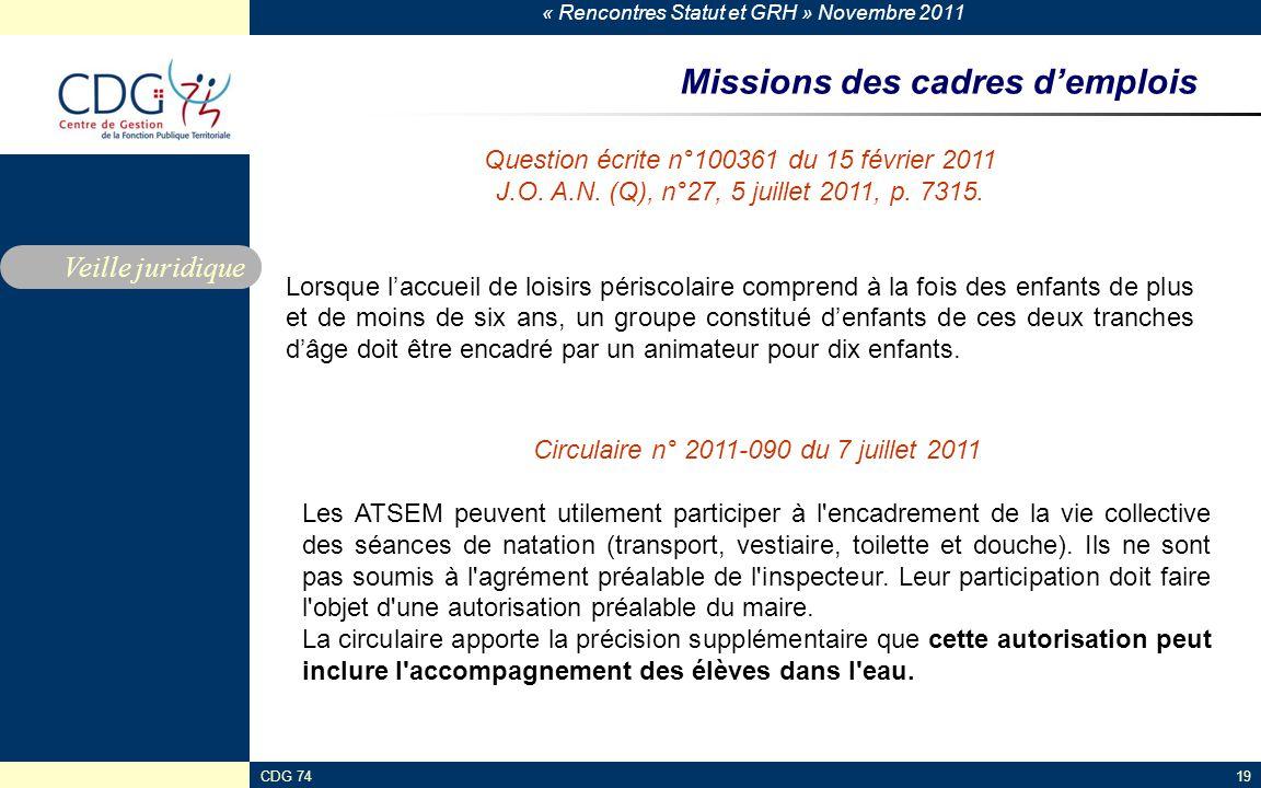 « Rencontres Statut et GRH » Novembre 2011 CDG 7419 Missions des cadres d'emplois Veille juridique Question écrite n°100361 du 15 février 2011 J.O. A.
