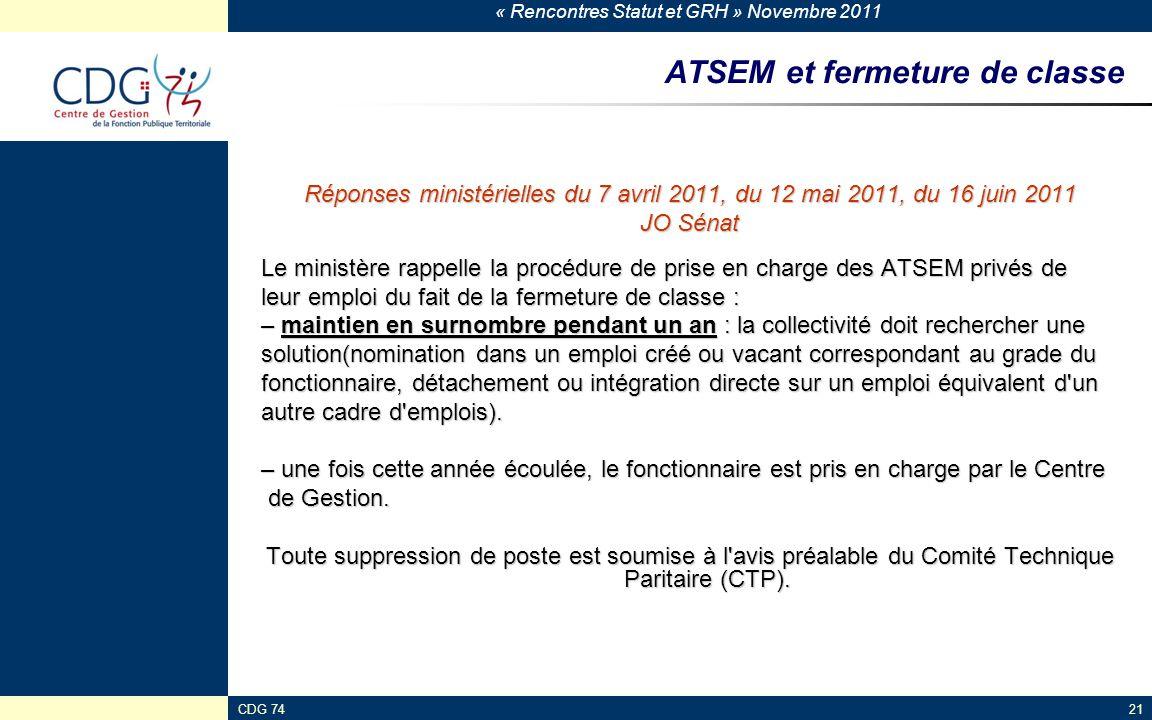 « Rencontres Statut et GRH » Novembre 2011 CDG 7421 ATSEM et fermeture de classe Réponses ministérielles du 7 avril 2011, du 12 mai 2011, du 16 juin 2