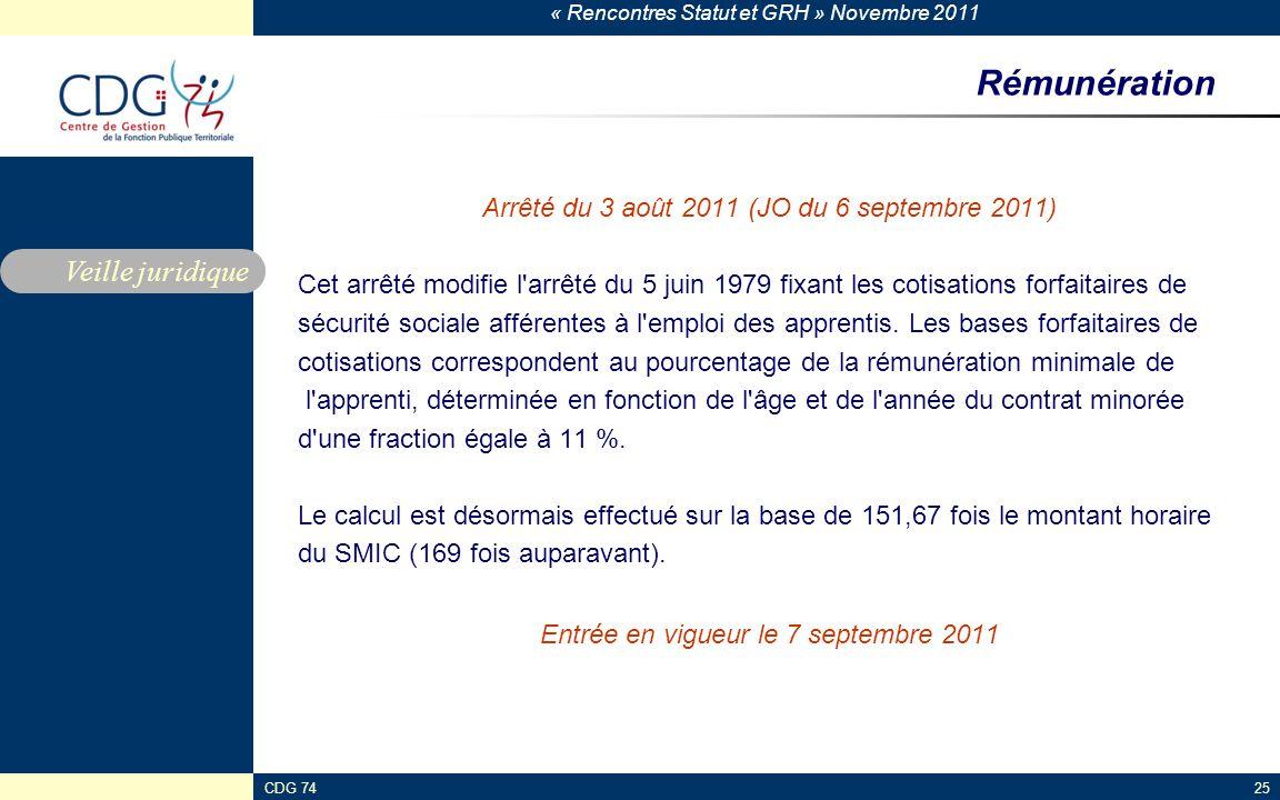 « Rencontres Statut et GRH » Novembre 2011 CDG 7425 Rémunération Arrêté du 3 août 2011 (JO du 6 septembre 2011) Cet arrêté modifie l'arrêté du 5 juin