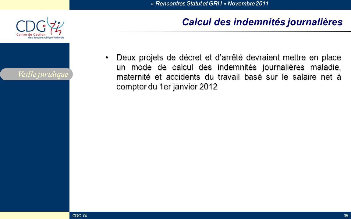 « Rencontres Statut et GRH » Novembre 2011 CDG 7435 Calcul des indemnités journalières Deux projets de décret et d'arrêté devraient mettre en place un