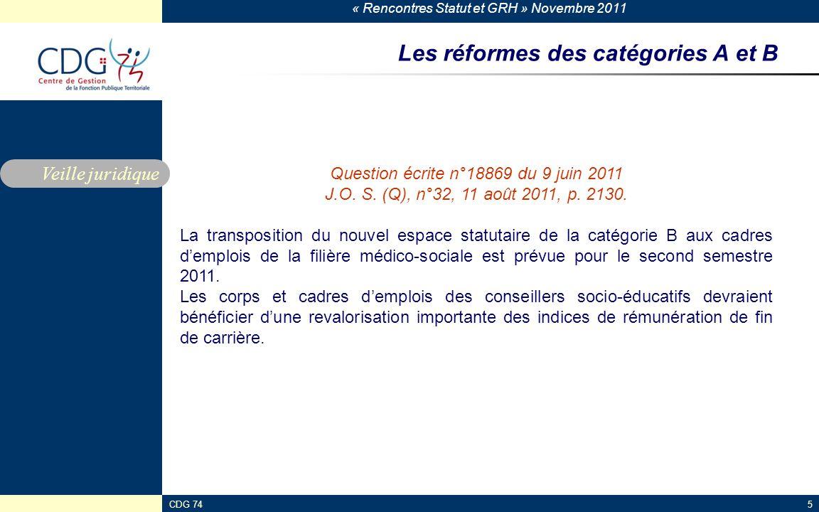 « Rencontres Statut et GRH » Novembre 2011 CDG 745 Les réformes des catégories A et B Veille juridique Question écrite n°18869 du 9 juin 2011 J.O. S.