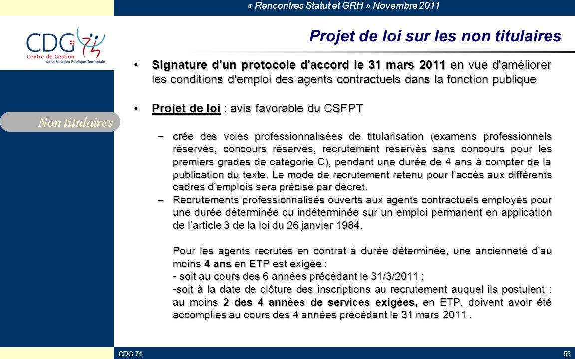 « Rencontres Statut et GRH » Novembre 2011 CDG 7455 Projet de loi sur les non titulaires Signature d'un protocole d'accord le 31 mars 2011 en vue d'am