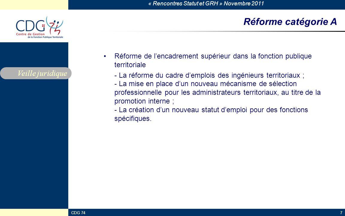 « Rencontres Statut et GRH » Novembre 2011 CDG 747 Réforme catégorie A Réforme de l'encadrement supérieur dans la fonction publique territoriale - La