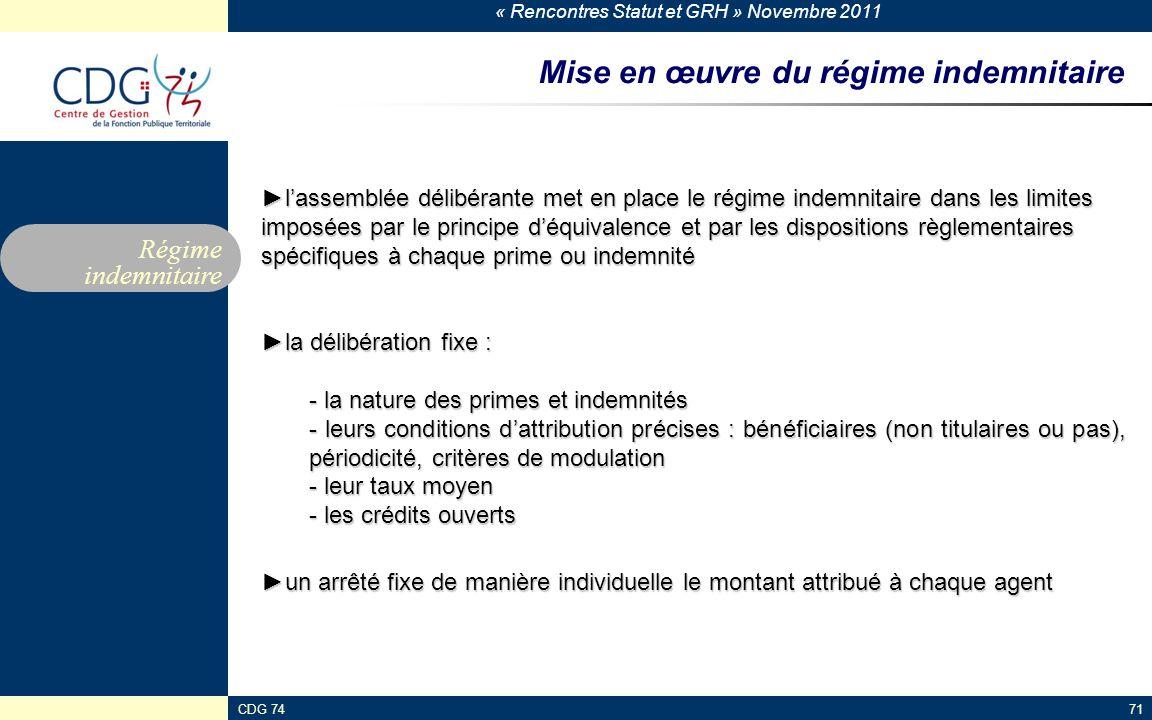 « Rencontres Statut et GRH » Novembre 2011 CDG 7471 Mise en œuvre du régime indemnitaire ►l'assemblée délibérante met en place le régime indemnitaire
