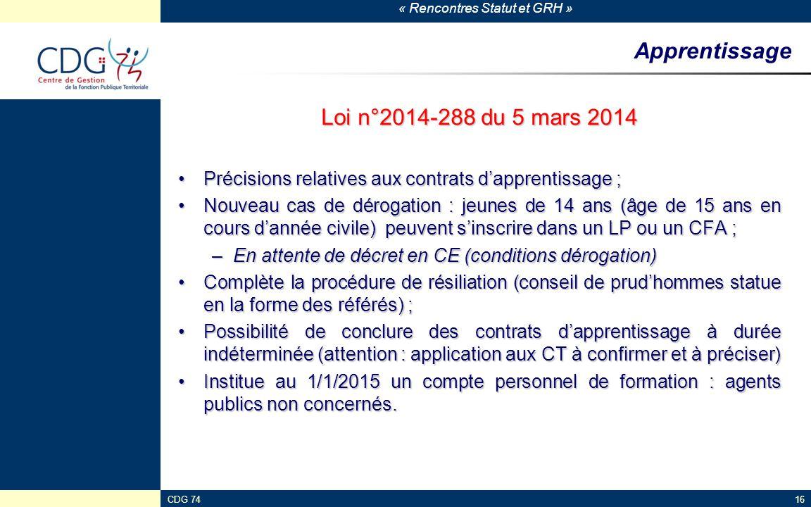 « Rencontres Statut et GRH » CDG 7416 Apprentissage Loi n°2014-288 du 5 mars 2014 Précisions relatives aux contrats d'apprentissage ;Précisions relati
