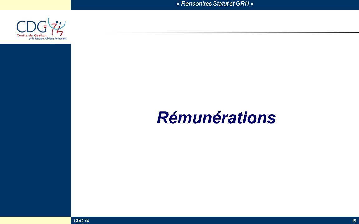 « Rencontres Statut et GRH » CDG 7419 Rémunérations