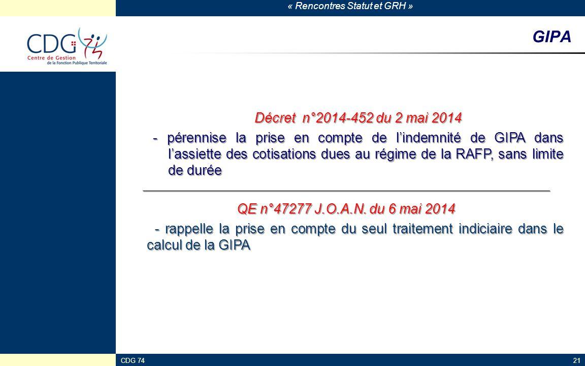 « Rencontres Statut et GRH » CDG 7421 GIPA Décret n°2014-452 du 2 mai 2014 - pérennise la prise en compte de l'indemnité de GIPA dans l'assiette des c