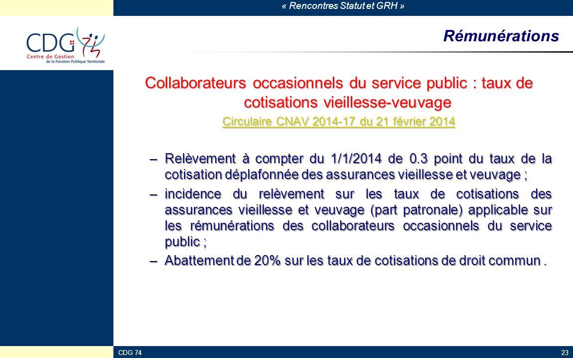 « Rencontres Statut et GRH » CDG 7423 Rémunérations Collaborateurs occasionnels du service public : taux de cotisations vieillesse-veuvage Circulaire