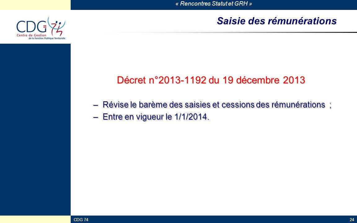 « Rencontres Statut et GRH » CDG 7424 Saisie des rémunérations Décret n°2013-1192 du 19 décembre 2013 –Révise le barème des saisies et cessions des ré