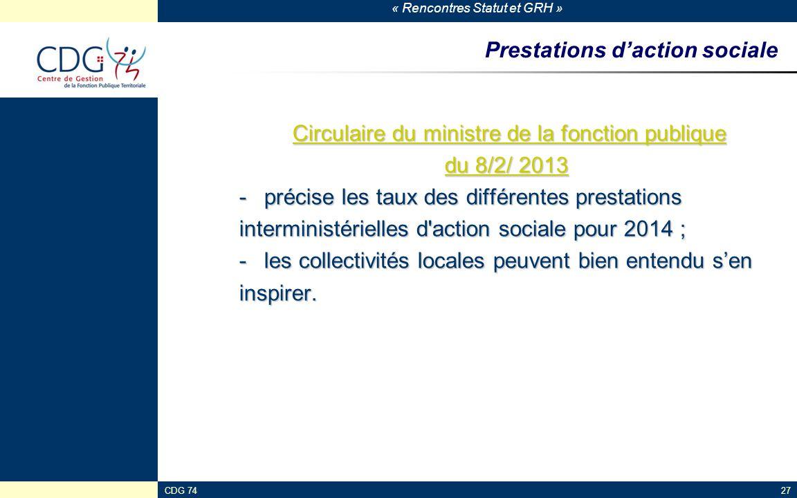 « Rencontres Statut et GRH » Prestations d'action sociale Circulaire du ministre de la fonction publique Circulaire du ministre de la fonction publiqu
