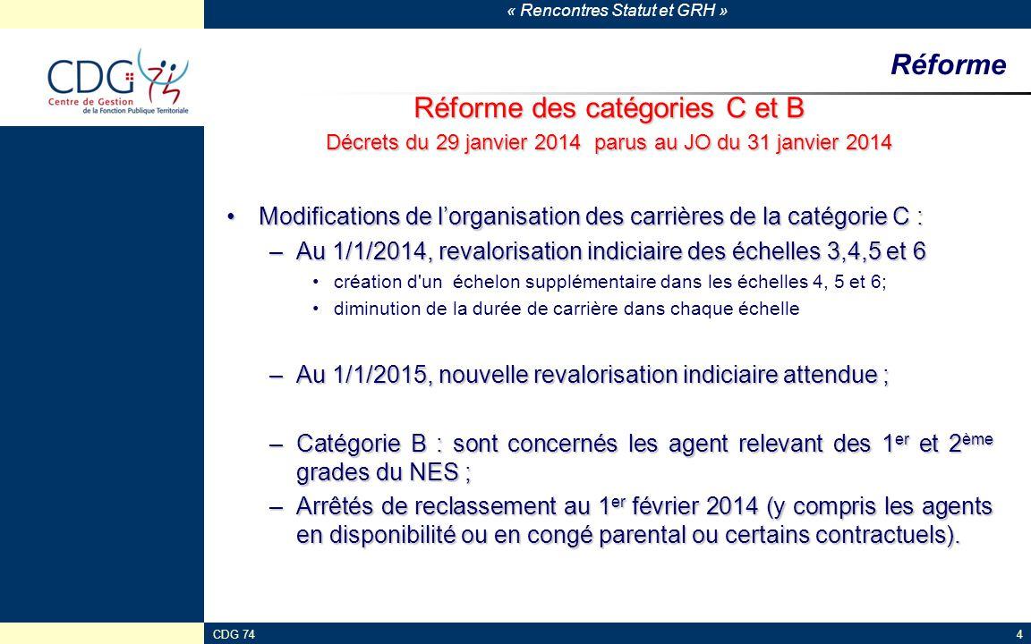 « Rencontres Statut et GRH » CDG 744 Réforme Réforme des catégories C et B Décrets du 29 janvier 2014 parus au JO du 31 janvier 2014 Modifications de