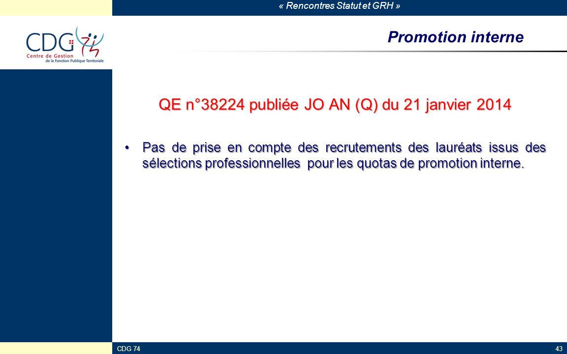 « Rencontres Statut et GRH » CDG 7443 Promotion interne QE n°38224 publiée JO AN (Q) du 21 janvier 2014 Pas de prise en compte des recrutements des la