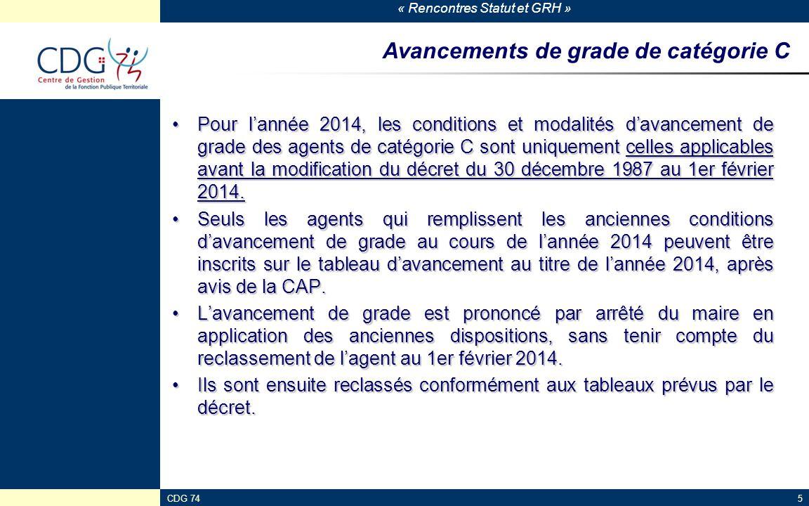« Rencontres Statut et GRH » CDG 745 Avancements de grade de catégorie C Pour l'année 2014, les conditions et modalités d'avancement de grade des agen